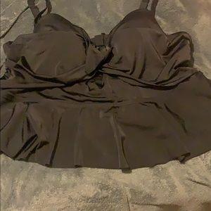 Black tankini bathing suit top